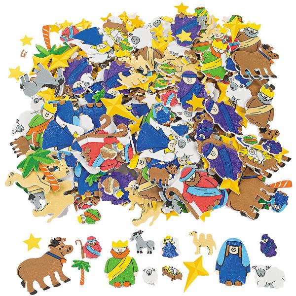 50 x Aufkleber Sticker Krippe Weihnachten heiligen Könige Advent Jesus Maria Joseph Krippenspiel