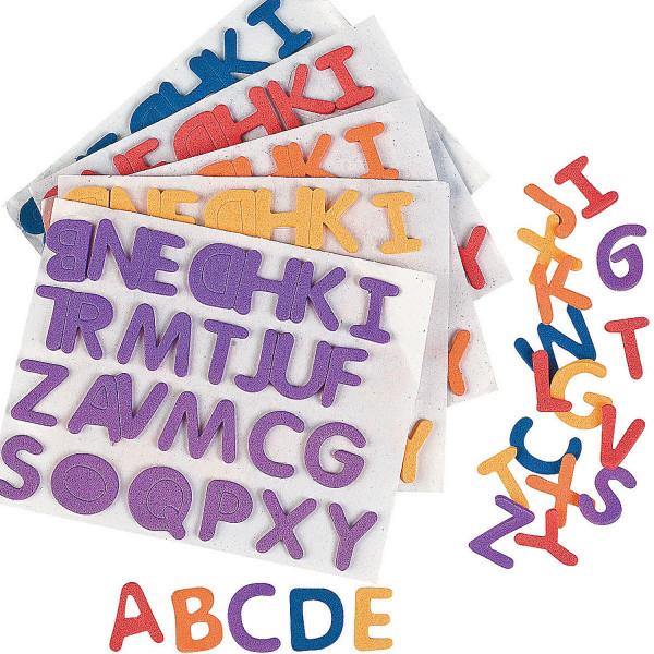 6 x ABC Alphabet 156 Buchstaben Aufkleber Sticker Moosgummi Schulanfang Schultüte Beschriftung Gebur