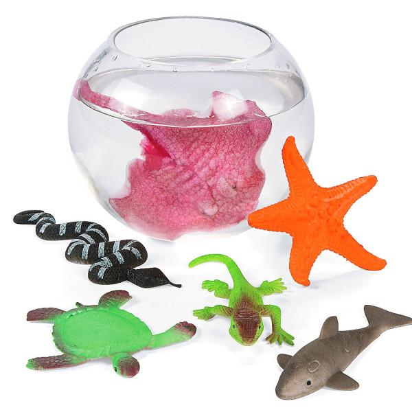 6x Meerestiere wachsend Gummitiere Ozean Figuren Adventskalender Tierfigur Grow Seestern Hai Echse