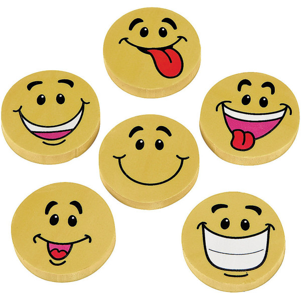 6 x Smiley Radierer Radiergummi Schule Kindergeburtstag Kinderparty Schultüte Schulanfang