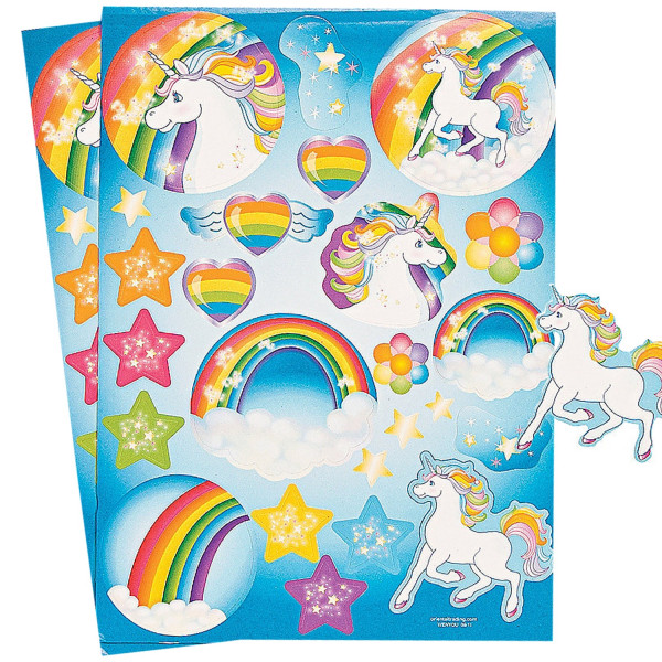 2 Bögen Einhorn Sticker Stern Mitgebsel Herz Mädchen Geburtstagstüte Regenbogen Geburtstag