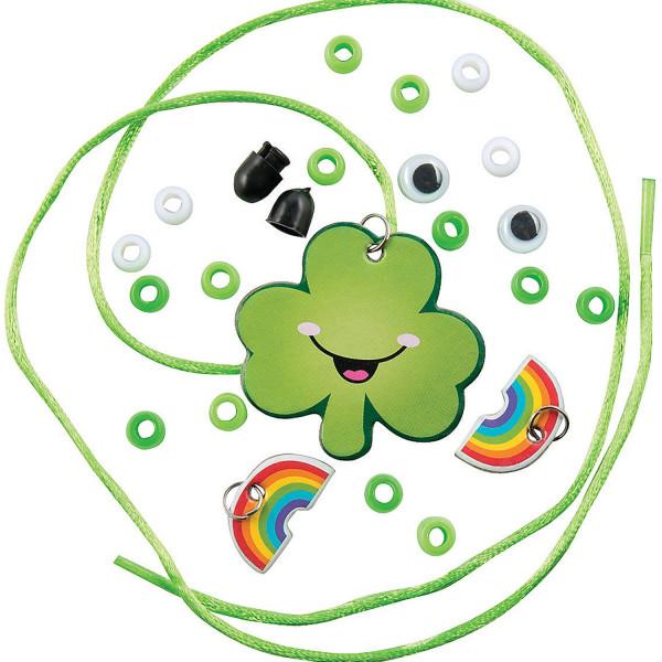 6 x Glücksklee Kleeblatt Kette DIY Glück Klee Mitgebsel Kindergeburtstag Fädelspiel