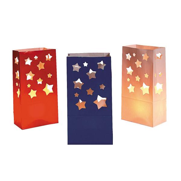 12 x Licht Tüten Deko Beleuchtung Weihnachten Silvester Party Geburtstag Sterne USA