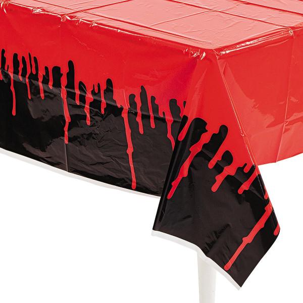 1 x Tischdecke Halloween Grusel Horror Blut Gespensterparty Deko Blutig Vampir schwarz Tischdeko Par