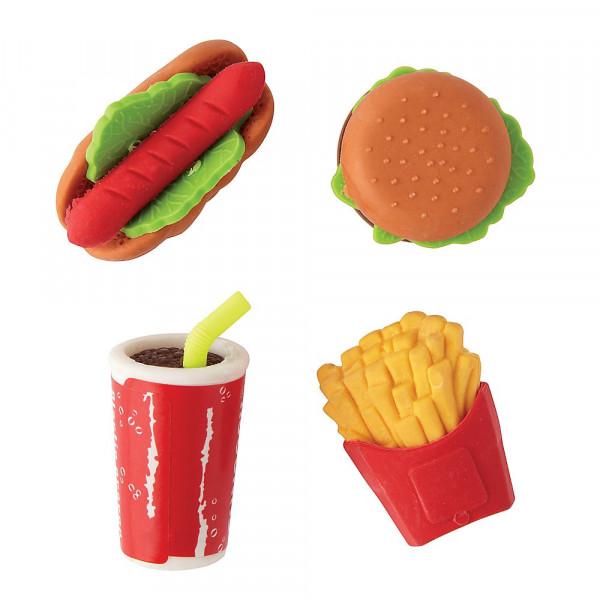 12 x Radiergummi Radierer Fast Food Cola Hamburger Pommes Hot Dog Mitgebsel Kindergeburtstag Preis