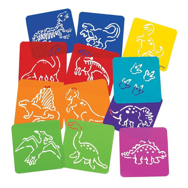 12 x Dinosaurier T-Rex Schablonen Urzeit Kindergeburtstag Mitgebsel Malen Zeichnen Basteln