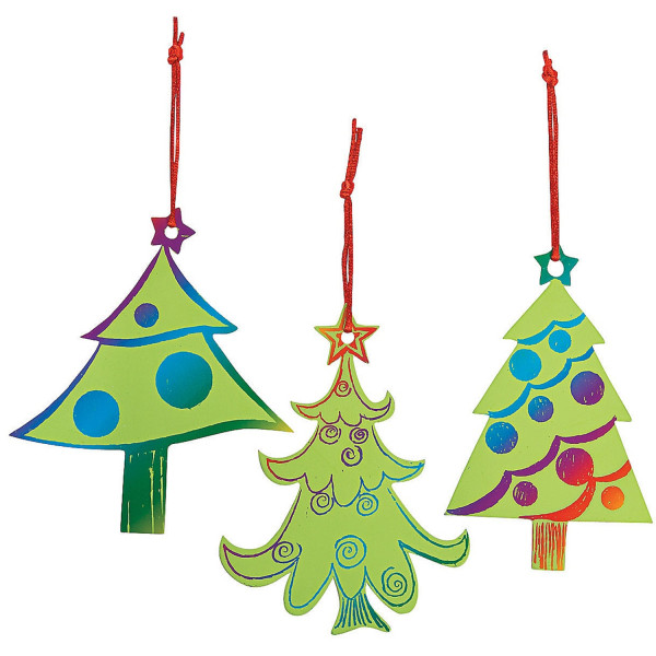 24 x Weihnachtsbaum Kratzbild Deko Tannenbaum Adventskalender Wunschzettel Christbaumschmuck Schmuck