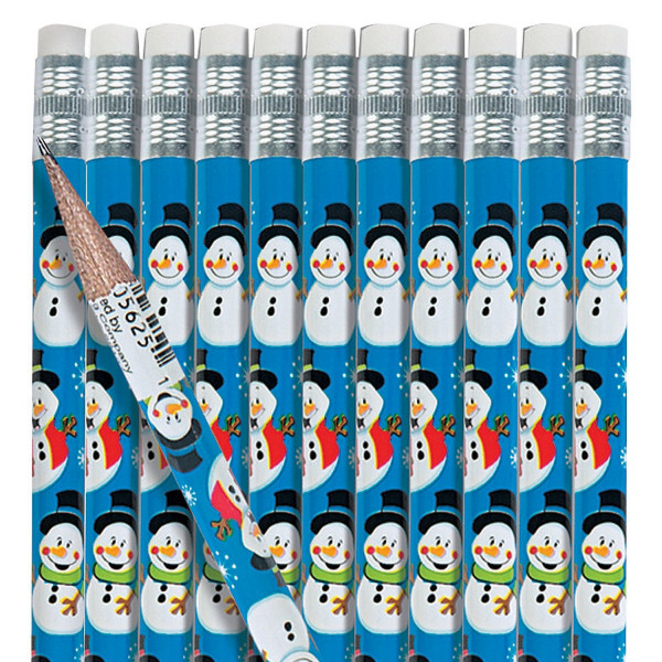 12 x Bleistift Bleistifte Schneemann Weihnachten Weihnachtsmann Adventskalender Nikolaus