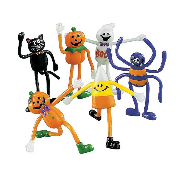 6 Biegefiguren, Halloween, Gruselparty ideal für eine tolle Deko im Set Spinne Kürbis Katze Gespenst