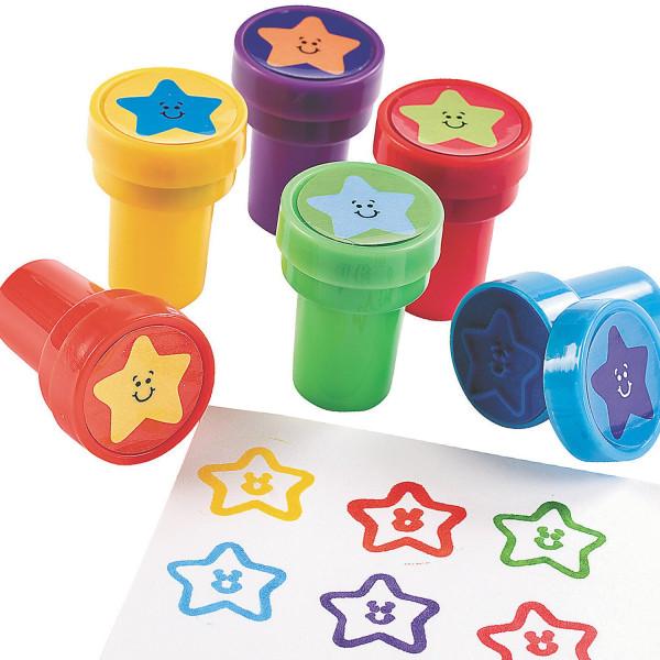 6 x Stempel Sterne Weltraum Weltall Star Mitgebsel Kindergeburtstag Adventskalender Schultüte Kinder