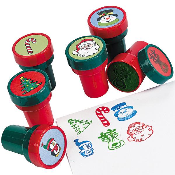 6 x Stempel Weihnachten Schneemann Adventskalender Mitgebsel Kinderstempel Nikolaus XMAS Weihnachtsm