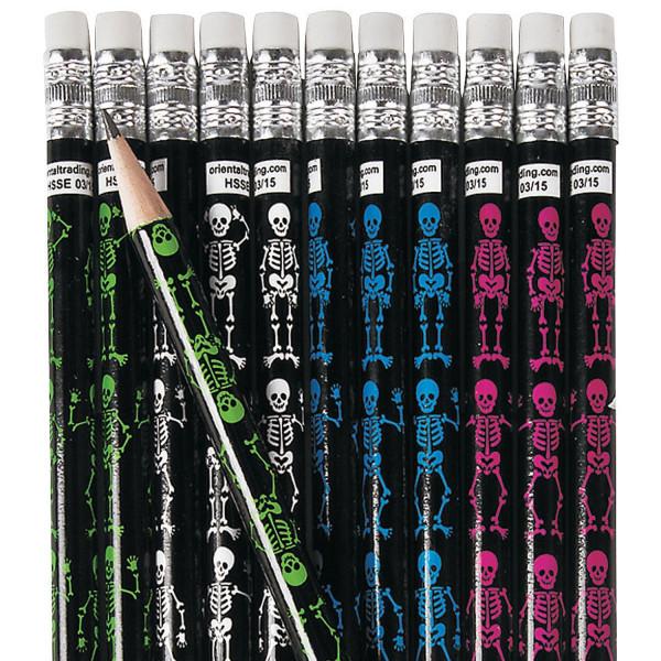 12 x Halloween Bleistifte Skelett Gerippe Pirat Piratenparty Radiergummi Grusel Horror Party Mitgebs