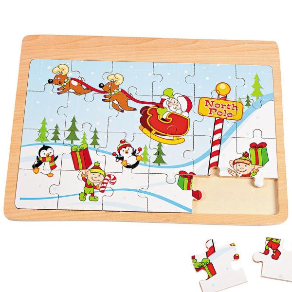 Holz Puzzle 24 Teilig Weihnachten Adventskalender Weihnachtsmann Geschenk Schlitten Adventskalenderf