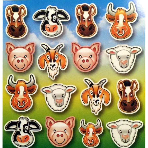 6 Bögen Aufkleber Tiere Bauernhof Farm Sticker Mitgebsel Kinderparty Kindergeburtstag Mitbringsel Ku
