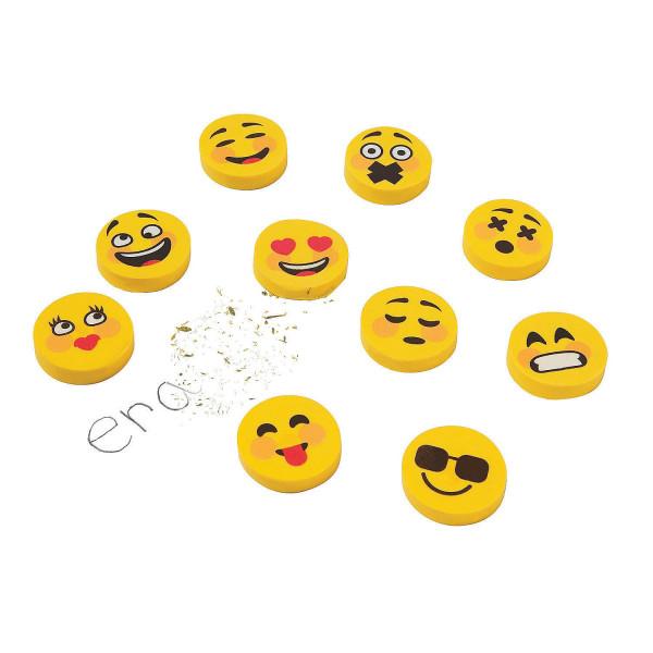 25 x Radiergummis Mitgebsel Gelbe Emojis Schulbedarf verschiedene Gesichter Emotionen