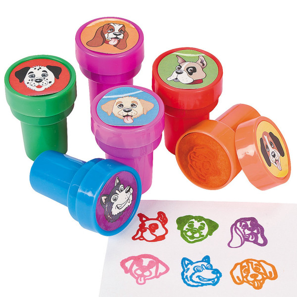6 x Stempel Hunde Tiere Dog Dalmatiner Boxer Golden Retiever Beagle Husky Mitgebsel Kindergeburtstag