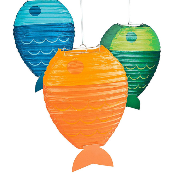 3 x Fisch Lampions Laterne Gartenfest Meerestiere Sommerparty Deko Gartendeko Sommer Kinderzimmerdek