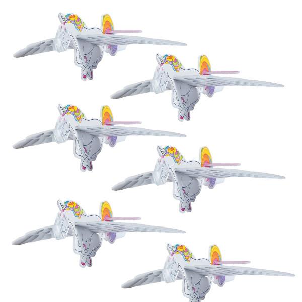 6 x Einhorn Flieger Flugzeug Mitgebsel Gleiter Kindergeburtstag Geburtstagsspiel Einhornparty Fabelw