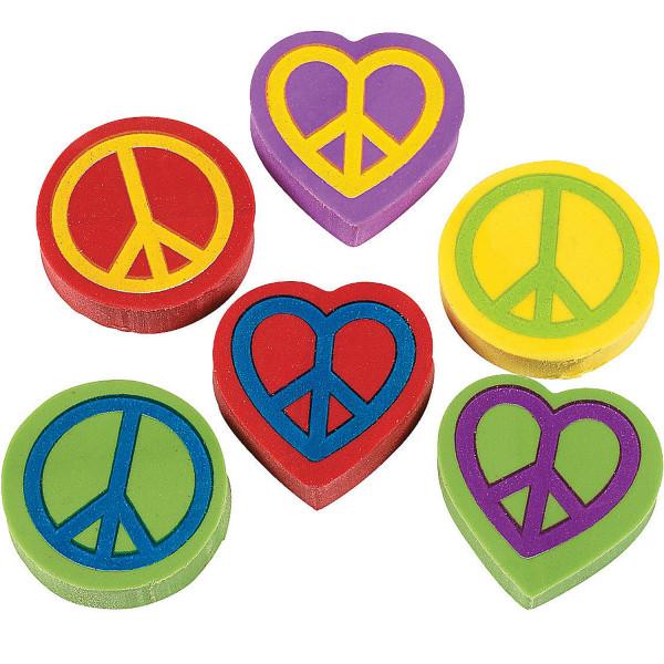 6 x Radiergummi Radierer Peace Herz Mitgebsel Geburtstag Party Frieden