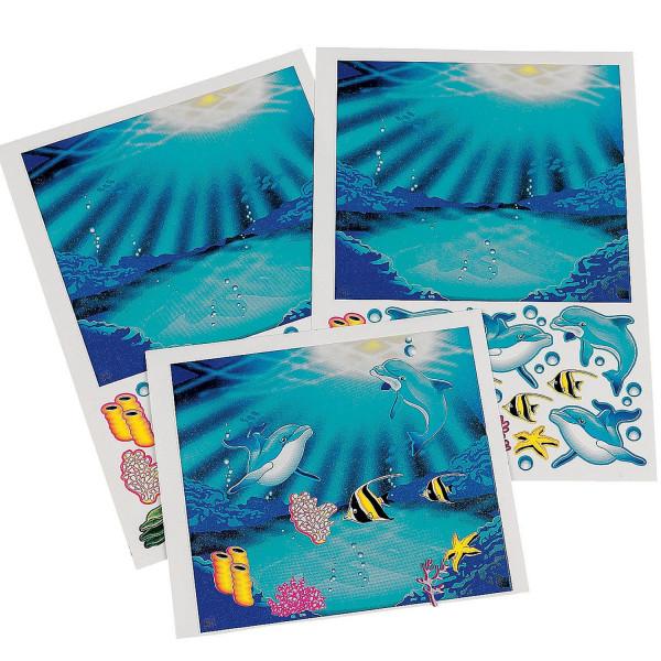 12 x Ozean Aufkleber Meer Delfin Fisch Seestern Urlaub Kindergeburtstag Mitgebsel Giveaway Meerjungf