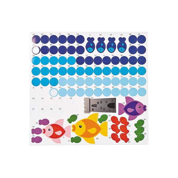 12 x Haftspiel Aquarium Kleben nach Zahlen Fische bis 100 zählen Klebespiel Bastelvorlage Lernspiel
