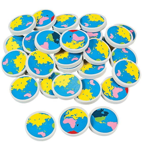 6 x Radiergummi Radierer Erde Welt Kontinent Schule Einschulung Kindergeburtstag