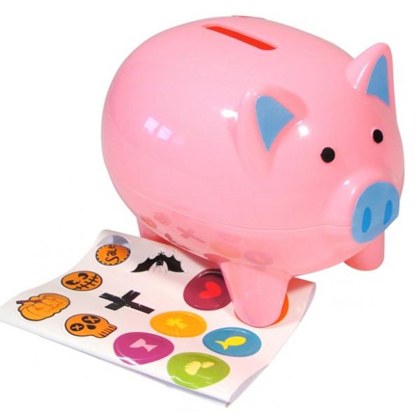 Sparschwein zum Gestalten DIY mit Sticker / Aufkleber Basteln Geburt Geldgeschenk Glücksschwein Gesc