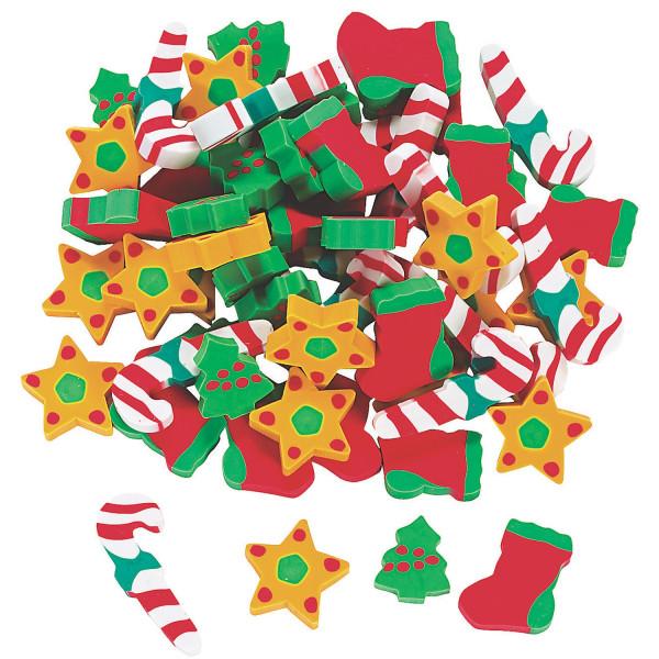 20 x Mini Radierer für Weihnachten als Füllung für den Adventskalender oder Nikolaus