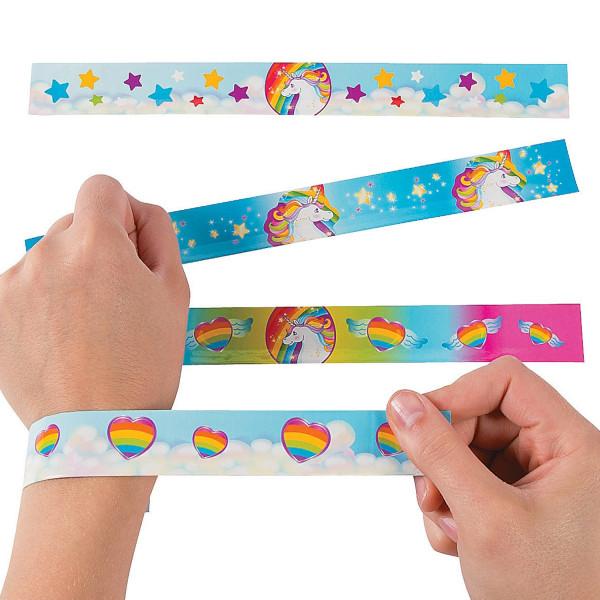 5 x Einhorn Regenbogen Armband / Schnapparmband für die Einhornparty als Mitgebsel für Mädchen Kinde