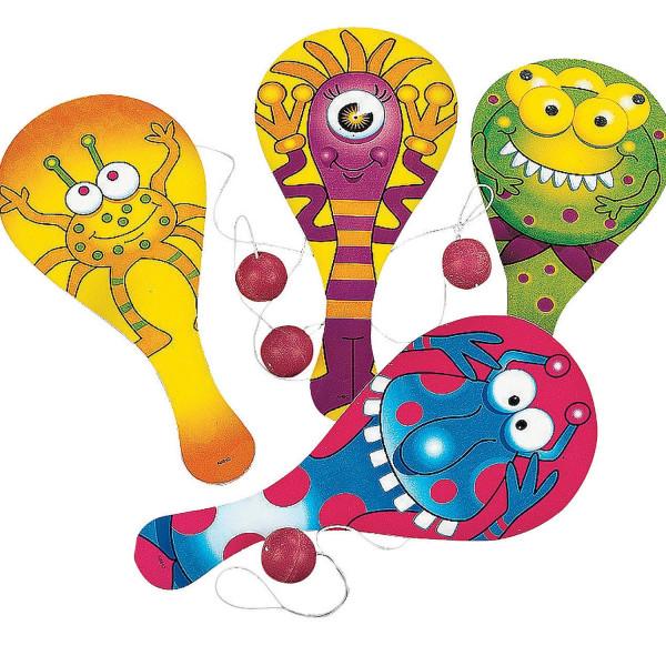 6 x lustiges Monster Paddleball Spiel Monsterparty Kindergeburtstag Ball Spiel Mitgebsel