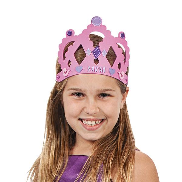 12 x Kronen aus Moosgummi zum Basteln Mädchen Prinzessin Party Geburtstag
