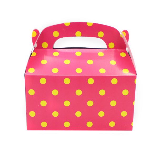 6 x Geschenkbox Geschenktüte Geburtstag Kindergeburtstag Mitgebsel Punkte gepunktet Faltbox Gastgesc