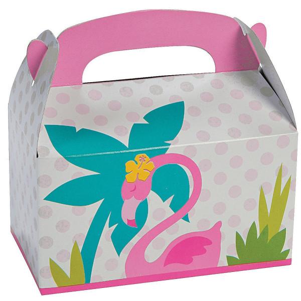 6 x Flamingo Geschenkebox Box Verpackung Geschenkpapier Kindergeburtstag Mitgebsel Mitbringsel
