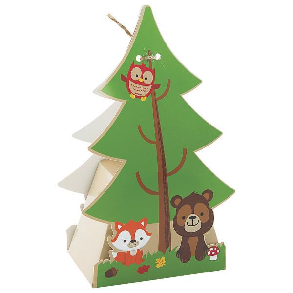 6 x Partybox Faltschachtel Waldleben Tiere Fuchs Bär Eule Kindergeburtstag Mitgebsel Mitbringsel