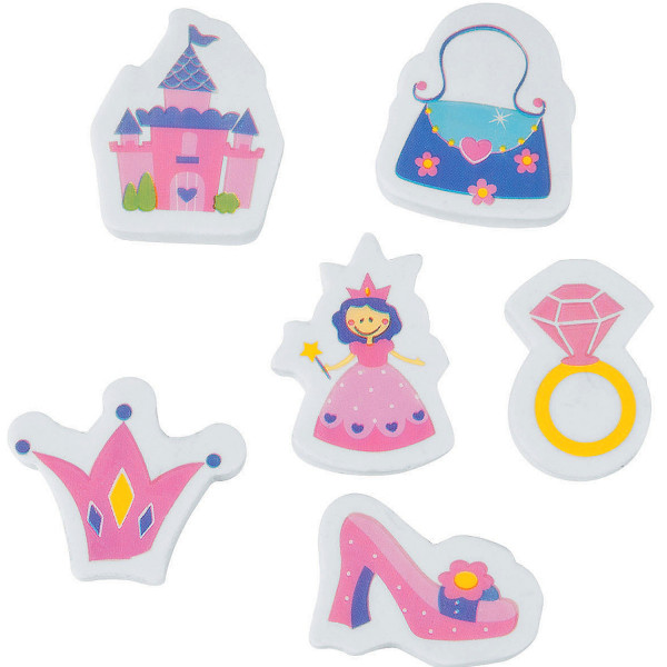 6 x Mitgebsel Prinzessinnen Radierer Radiergummi Geschenktüte Giveaway Prinzessinnenparty