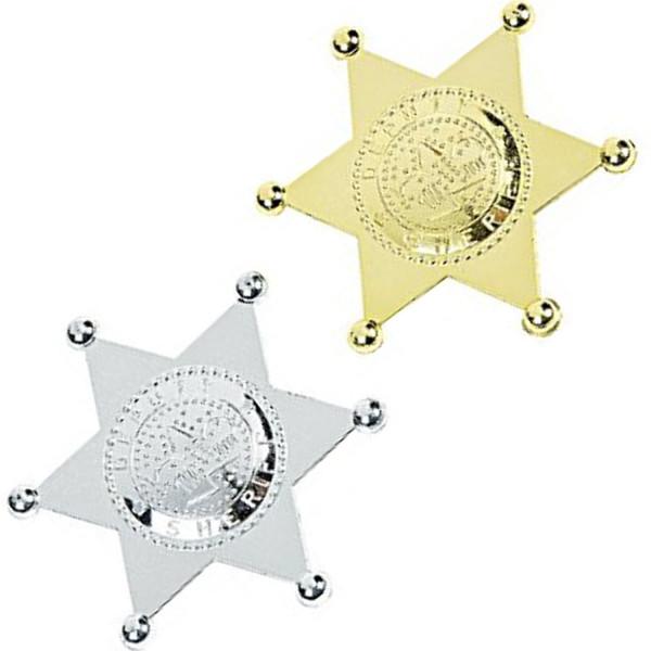 2 x Sheriffstern Sheriff gold + silber Indianer Cowboy Polizei Stern Mitgebsel Fasching