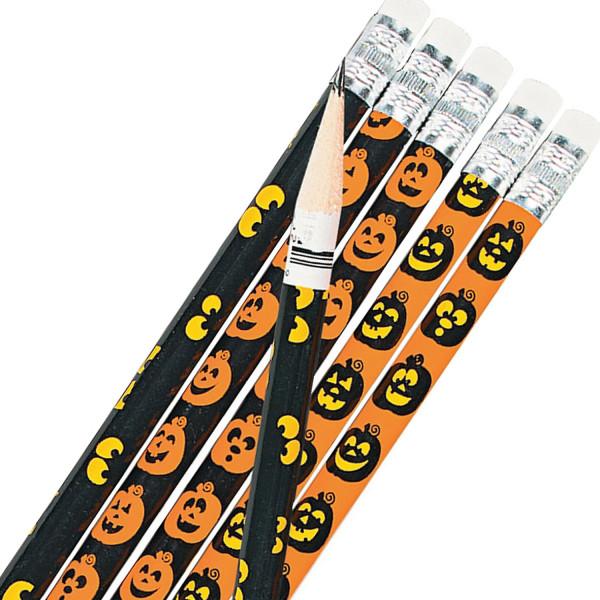 6 x Halloween Mitgebsel Bleistifte mit Kürbis Geisteraugen Radiergummi