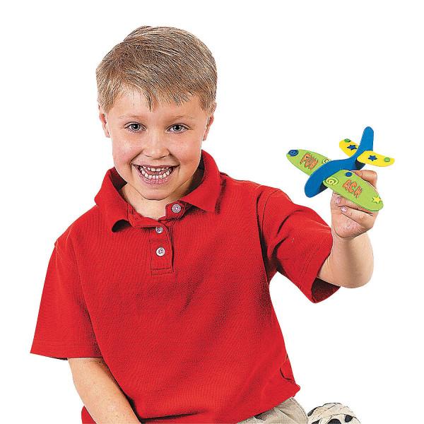 6 x Moosgummi Flieger Flugzeuge basteln bekleben Bastelset DIY Mitgebsel Kindergeburtstag