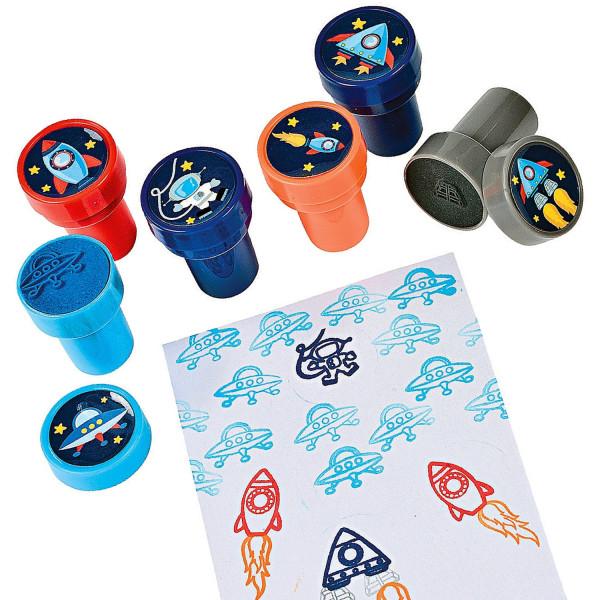 6 x Stempel Weltraum Weltall Alien Universum Ufo Spaceshuttle Giveaway Kindergeburtstag Kinderstempe