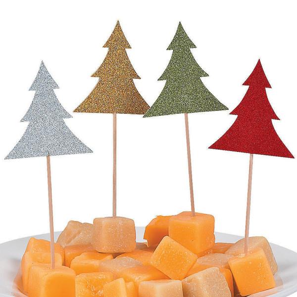 12 x Glitzer Tannenbaum Picks Käsepieker für Weihnachten oder Adventskaffee für Muffins + Cupcake
