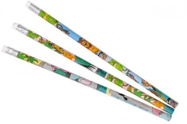 Bleistifte Wilde Tiere - Mit Radiergummi - Zeichnen und Malen - Mitgebsel für Schule und Kindergebur
