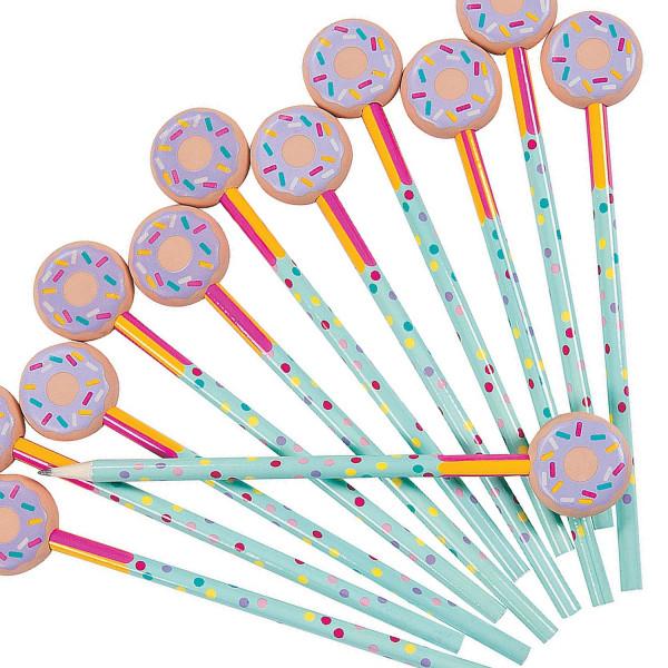 6 x Bleistift mit großem Radierer Donut Bagel Schule Einschulung Radiergummi Schultüte Bleistifte Ki