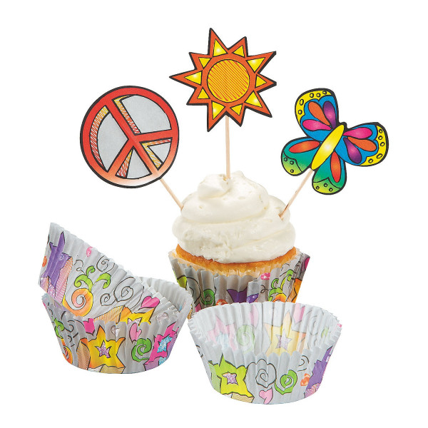 Love Peace & Rock n Roll Muffins / Cupcakes Form und Spieße Picks Buffet Muffin Fingerfood Somme
