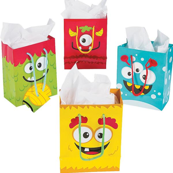 6 x Monster Partytasche Geschenktüte Geschenktasche Geschenkbox Mitgebsel Mitbringsel für die Monste
