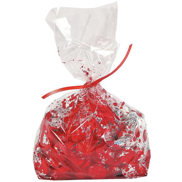 12 x blutige Zellophan Tüte Zellophanbeutel mit Blut für Halloween Geschenktüten Mitgebsel
