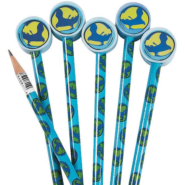6 x Bleistifte Erde Planet Weltkugel Mitgebsel Kindergeburtstag Geografie Weltraum