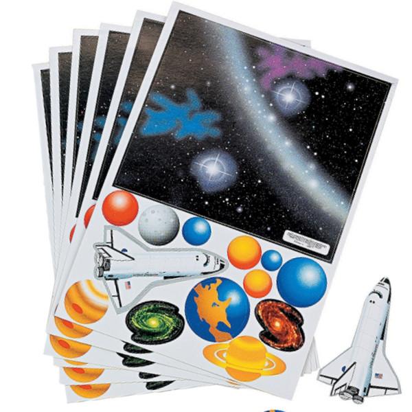6 x Weltraum Aufkleber Space Weltall Shuttle Sterne Planeten Kindergeburtstag Mitgebsel Giveaway
