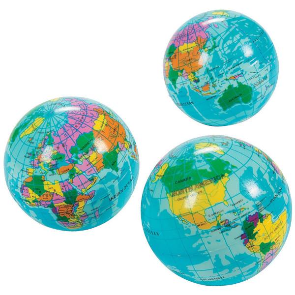 6 x Erde Weltkugel Globus Stressball Ball Weltraum Alien Geographie Reise Geburtstag
