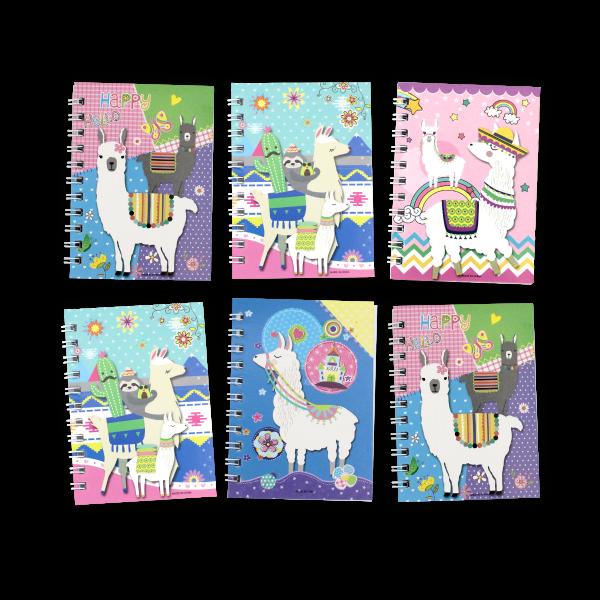 6 Alpaka Notizblöcke - Praktischer Schreibblock in süßem Alpaka Design - Mit bunten Bildern auf den