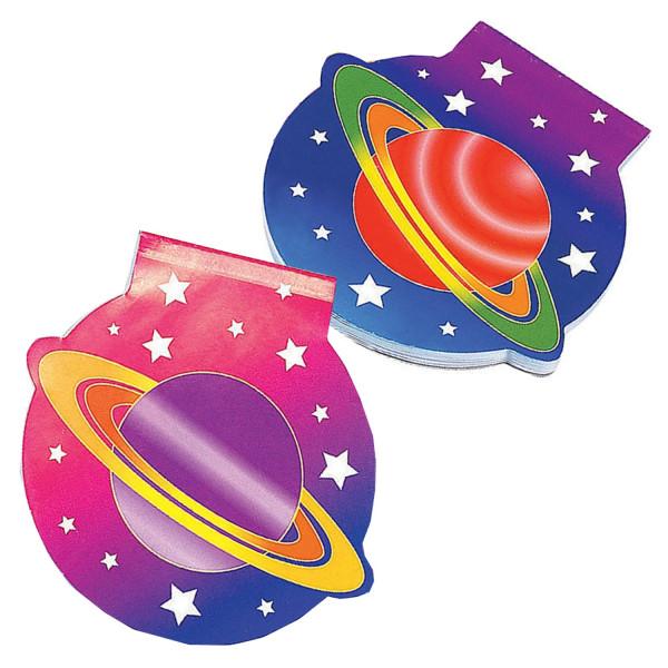 2 x Weltraum Notizblock Block Notizen Weltraumparty Stern Planeten Weltall Astronaut Mitgebsel Kinde